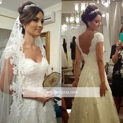 Straps Modern Zipper Short-sleeves A-line Lace Wedding Dresses_1