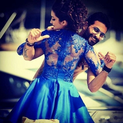 Royal Blue Homecoming Dresses Long Sleeves Short Party Dresses_4