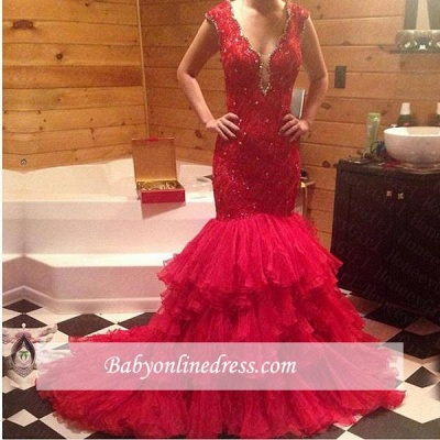 Red Mermaid Tiered V-Neck Prom Dress 2018 Sleeveless Evening Gowns with Beadings_1