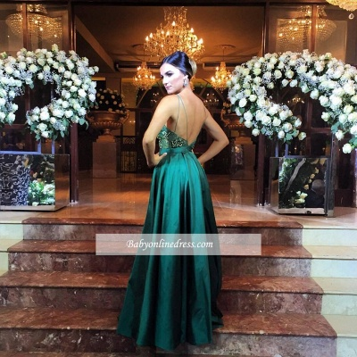 Alluring Spaghetti Straps Evening Dresses | Green Open Back Prom Gowns_3