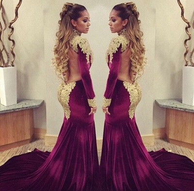 Mermaid Prom Dresses High Neck Long Sleeves Gold Appliques Velvet Long Evening Gowns_3