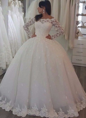 Luxury Lace Ball Gown Wedding Dresses | Off-The-Shoulder Long Sleeves Tulle Bridal Gowns