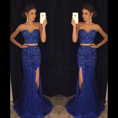 2018 Luxury Mermaid Side-Slit Two-Pieces Sweetheart Crystal Prom Dress_3