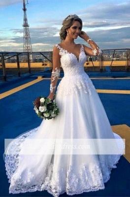 Long-Sleeve V-Neck Appliques A-Line Elegant Lace Wedding Dresses_1