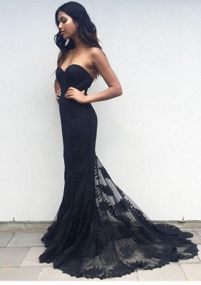 Black Sweetheart Mermaid Prom Dress Lace Appliques_2