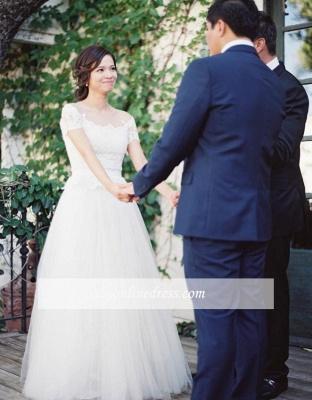 Vintage Tulle Lace Floor Length Short Sleeve Princess Wedding Dress with Zipper_1