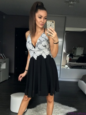 Sexy White&Black A-Line Homecoming Dresses | Spaghetti Straps Chiffon Cocktail Dresses_1