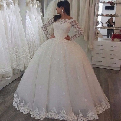 Luxury Lace Ball Gown Wedding Dresses | Off-The-Shoulder Long Sleeves Tulle Bridal Gowns_3