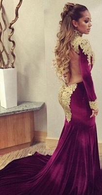 Mermaid Prom Dresses High Neck Long Sleeves Gold Appliques Velvet Long Evening Gowns_2