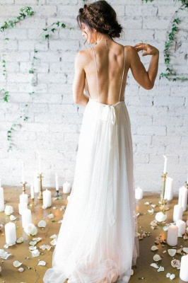 V-Neck Beach Chiffon Sleeveless Long Elegant Wedding Dress_4