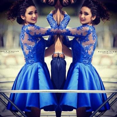 Royal Blue Homecoming Dresses Long Sleeves Short Party Dresses_6