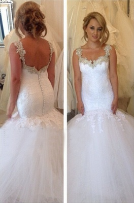 Lace Straps Sweetheart Mermaid Wedding Dresses | Vintage Backless Bridal Gowns_1
