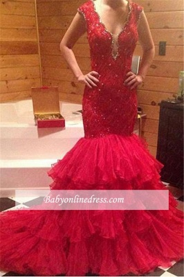 Red Mermaid Tiered V-Neck Prom Dress 2018 Sleeveless Evening Gowns with Beadings_4