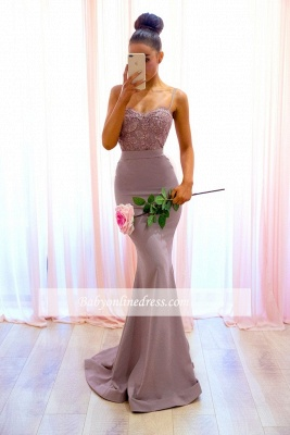 Sexy Lace Sleeveless Bridesmaid Dresses | Spaghetti-Straps Mermaid Evening Dress_3