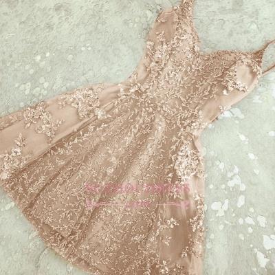 Elegant Appliques Short Spaghettis Straps A-Line Crystals Homecoming Dresses_1