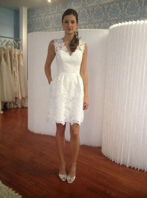 Elegant White Lace Homecoming Dresses | V-Neck Sleeveless A-Line Cocktail Dresses_1