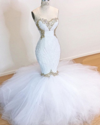 Stylish Mermaid Wedding Dresses | Strapless Tulle Bridal Gowns_2
