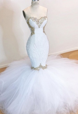 Stylish Mermaid Wedding Dresses | Strapless Tulle Bridal Gowns_1