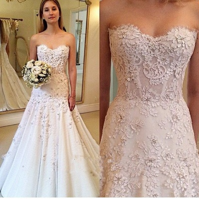 Gorgeous Sweetheart A-Line Appliques Lace Wedding Dresses with zipper_3