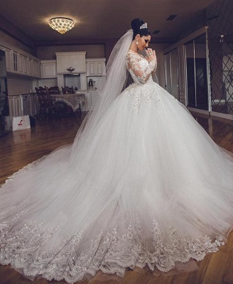 Vintage Long Sleeves Wedding Dresses | Sheer Neck Lace Ball Gown Wedding Dresses_5
