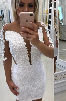 Short Long-Sleeve Cocktail Little White Party Dresses_2