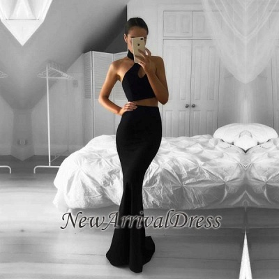 Newest Mermaid Black Two-Piece Prom Dress 2018 Halter Sleeveless Evening Gowns_1