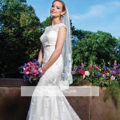 Zipper Button Lace Gorgeous Sleeveless Mermaid Wedding Dresses_1