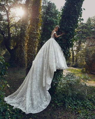 Luxurious Off The Shoulder Sweetheart Backless Floral Lace Pleated Ball Gown Wedding Dresses_2