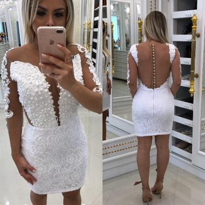 Short Long-Sleeve Cocktail Little White Party Dresses_3