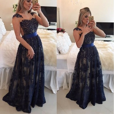 Dark Navy Blue Beaded Long Prom Dresses Lace Floor Length A-line Evening Gowns_2