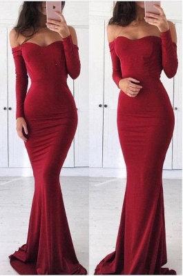 Fashion Red Sweetheart Long Sleeve Prom Dresses | Off The Shoulder Mermaid Party Dresses_1