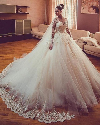 Vintage Long Sleeves Wedding Dresses | Sheer Neck Lace Ball Gown Wedding Dresses_4