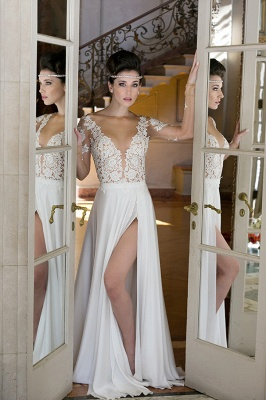 Sheer Tulle Long Sleeves Appliques Wedding Dresses Side Slit Bridal Gowns_1