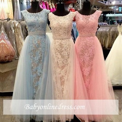 New Arrival Elegant Crystal Scoop Sleeveless Tulle Appliques Bridesmaid Dress_1