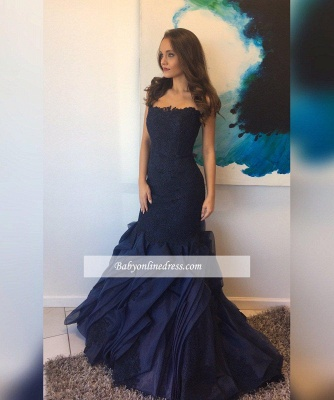 Elegant Mermaid Lace Prom Dress 2018 Ruffles Straps Evening Gowns_1