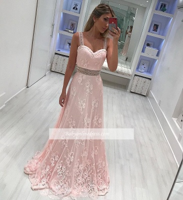 Elegant Pink Lace Prom Dresses | Straps Beading A-line Evening Gowns_1