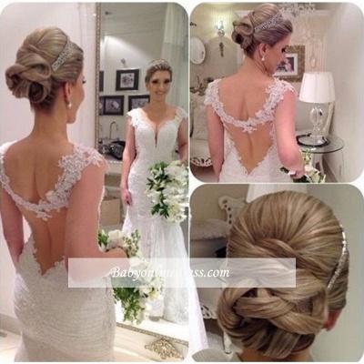 Sheath-Column Backless Sexy Sleeveless Straps Lace Wedding Dress_1