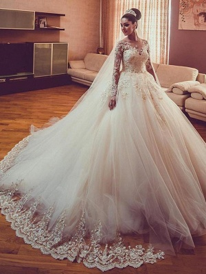 Vintage Long Sleeves Wedding Dresses | Sheer Neck Lace Ball Gown Wedding Dresses