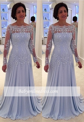 Lace Elegant Long-Sleeve A-line Mother-the-bride Dress_3