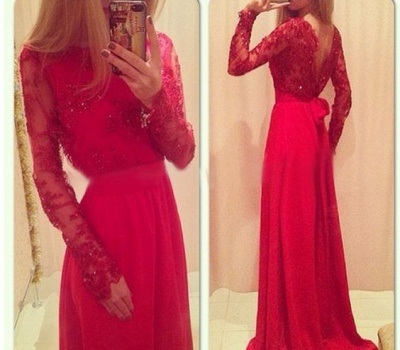 Red Long Prom Dresses Lace Beaded Long Sleeves with Bow Formal A-line Evening Gowns_3
