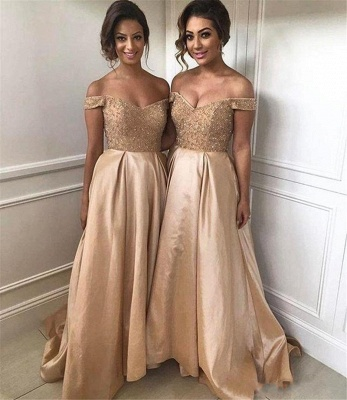Geogrous A-Line Bridesmaid Dresses | Off-The-Shoulder Beading Maid Of The Honor Dresses_4
