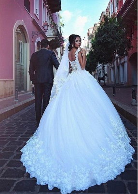 Cathedral Bridal A-line Wedding Gowns | Lace Appliques Wedding Dresses_3