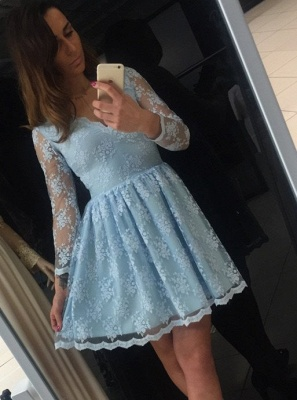 Chic Lace A-Line Homecoming Dresses | V-Neck Long Sleeves Short Cocktail Dresses_1