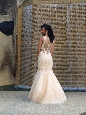 Elegant Floor Length Appliques Mermaid Tulle Wedding Dresses with Beadings_3