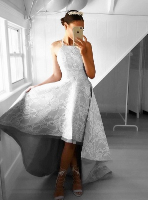 A-line Lace Hi-Lo Halter Sleeveless Elegant Prom Dresses_4