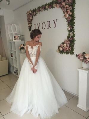 Elegant A-line Long Sleeves Wedding Dresss Applique Tulle_3