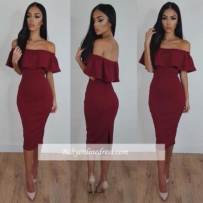 2018 Burgundy Bodycon Sexy Off-Shoulder Tea-Length Prom Dress_1