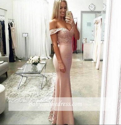 Floor-Length Long Sexy Cheap Lace Off-the-shoulder Sheath Evening Dresses_3