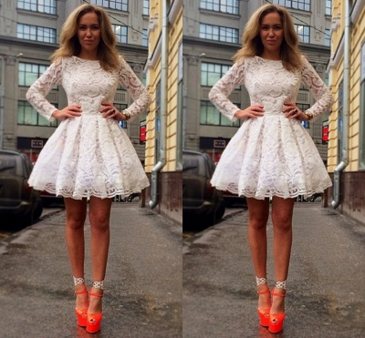 A-Line Long Sleeve Lace Homecoming Dresses White Short Cocktail Dresses_2