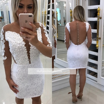 Short Long-Sleeve Cocktail Little White Party Dresses_1